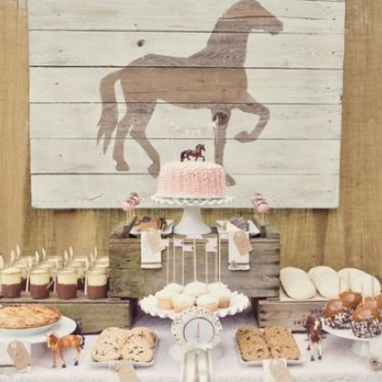 Vintage Pony Party. Lots of pretty vintage touches including using real furniture as party decor.