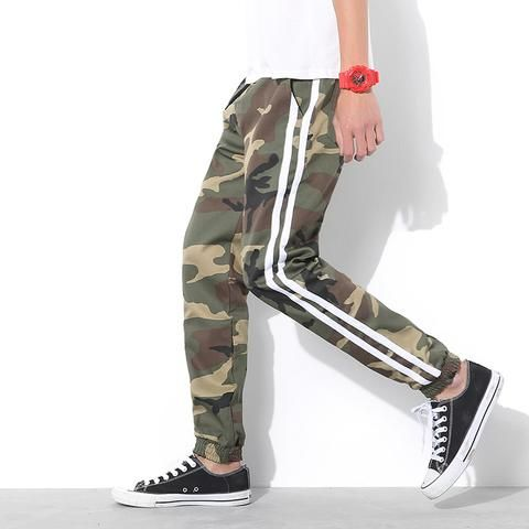 Men's sporty camouflage jogger pants. Camouflage sweat pants for men.
