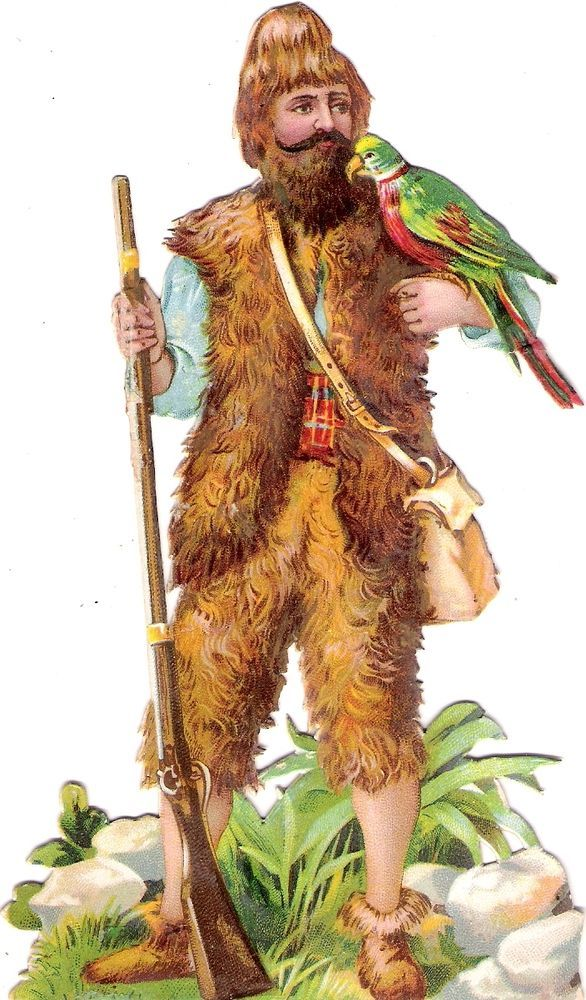 Oblaten Glanzbild scrap die cut chromo Märchen fairy tale Robinson Crusoe parrot: