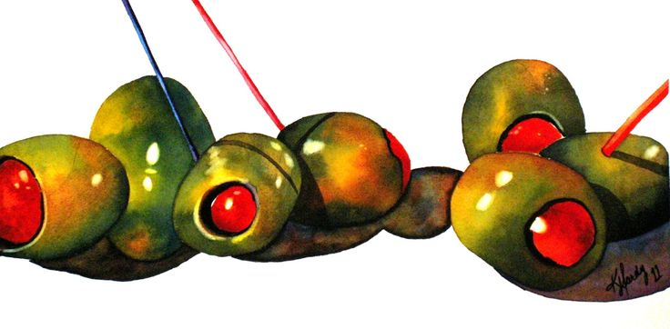 Martini Time, Anne Abgott Reproduction Exercise - Watercolour: