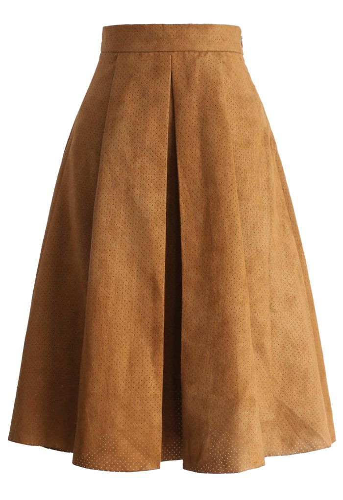 Eyelet Full A-line Suede Skirt in Tan - Skirt - Bottoms - Retro, Indie and Unique Fashion