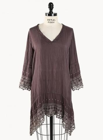 Trendy Plus Size Bohemian Clothing - High/Low V-Neck Tunic by fashionstylehunter :: fashion looks