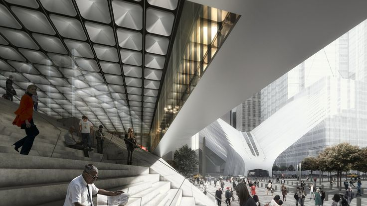 Day rendering of the exterior stairs at the Ronald O. Perelman Performing Arts…