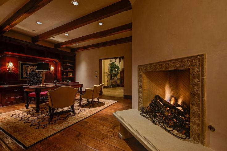 Study With Sitting Alcove Fireplace Cool Man Cave