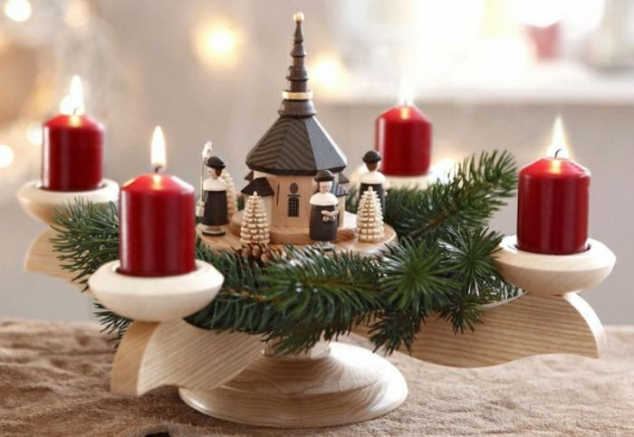 Near Natural Christmas Decoration With A Wooden Advent Wreath