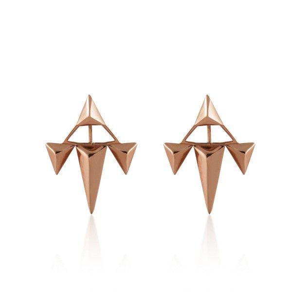 Pendientes tipo piercing de tres triangulos en plata/oro rosa Aristocrazy
