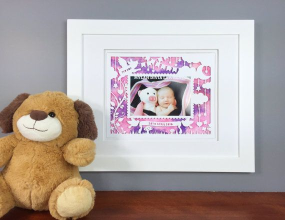 Personalized Baby Girl Picture Frame  Newborn Baby by Zavyanne