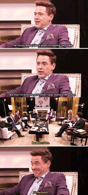 The Sherlocks share a bonding moment.  Robert Downey Jr. and Benedict Cumberbatch.