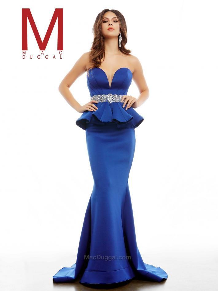 Sapphire Blue Peplum Prom Dress | Mac Duggal 85473A