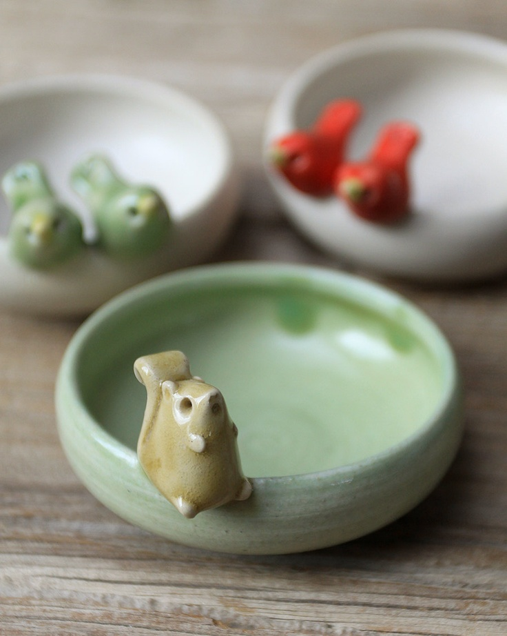 Squirrel with Acorn on a Tiny Little Light Green Bowl