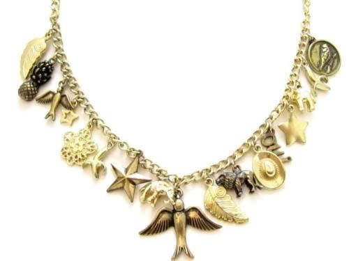 Charming Necklace Gold Toned Birds Elephant Lion Star Animals Fruit Charms*424D