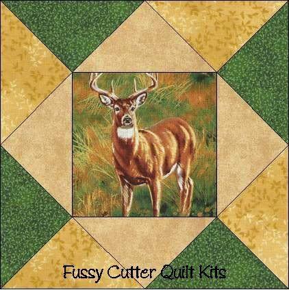 Bucks Does Fawns Deer Fabric Easy Pre-Cut Quilt Blocks Top Kit
