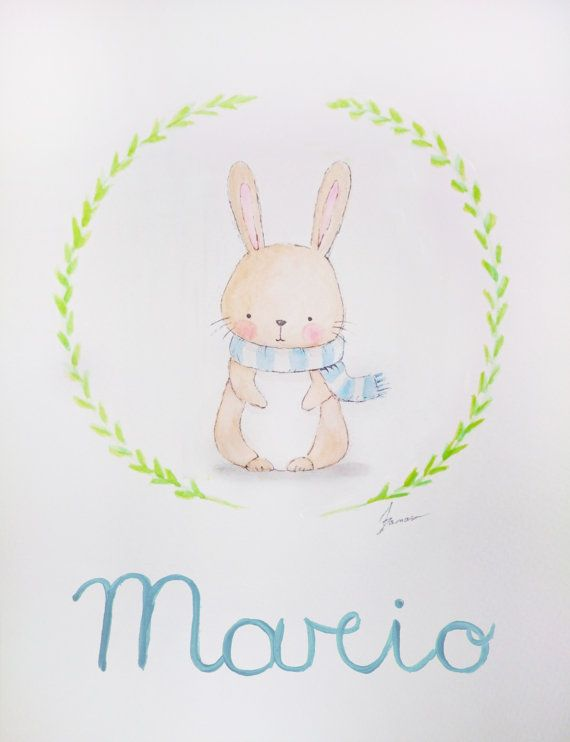 Acuarelas originales personalizadas para bebés y niños. Watercolor, nursery, nursery art, art, illustration.