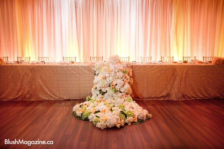 Najla & Alaa's Sparkling Spectacle: The floral runner lead from the head table onto the dance floor. Fabloomosity and Katch Studios Fine Art Photography
