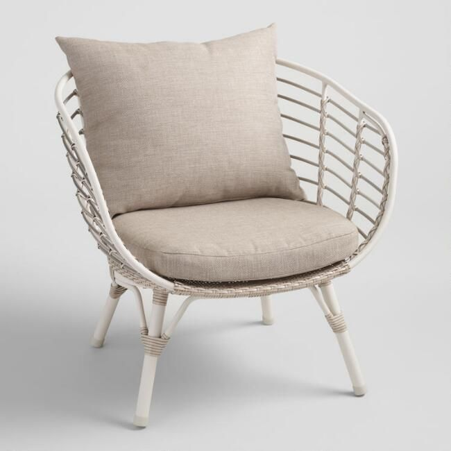 Cream All Weather Wicker Negril Outdoor Occasional Chair - v1