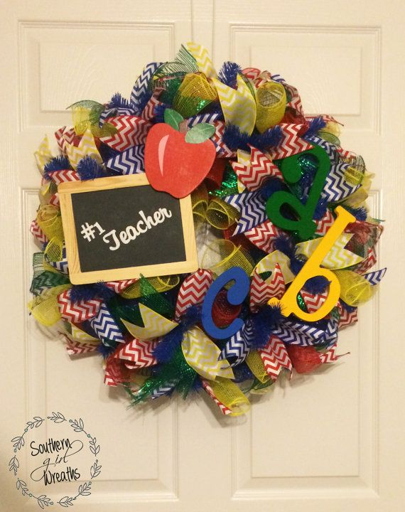 Hey, I found this really awesome Etsy listing at https://www.etsy.com/listing/229377038/i-love-my-teacher-deco-mesh-wreath