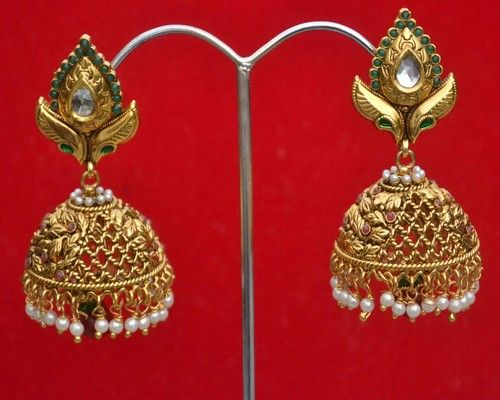Indian Jhumki Style Kundan Pearls Gold Plated Designer Costume Earrings