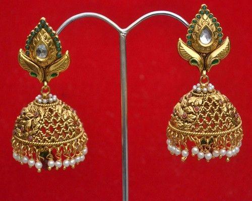 Indian Jhumki Style Kundan Pearls Gold Plated Designer Costume Earrings