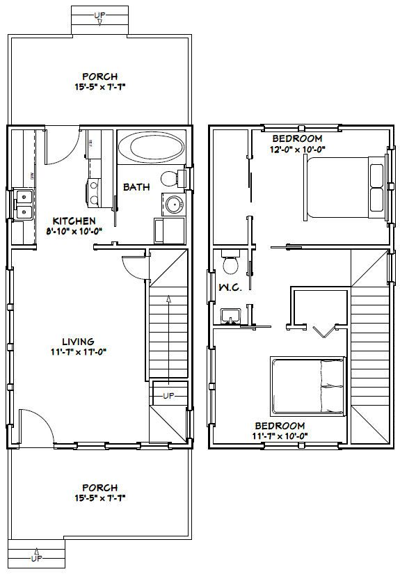 Tiny Home Designs Plans: 16x28 Tiny House -- #16X28H6C -- 806 Sq Ft
