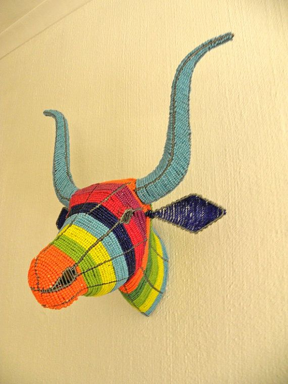 African Beaded Wire Animal Sculpture COW HEAD Rainbow by Hadeda