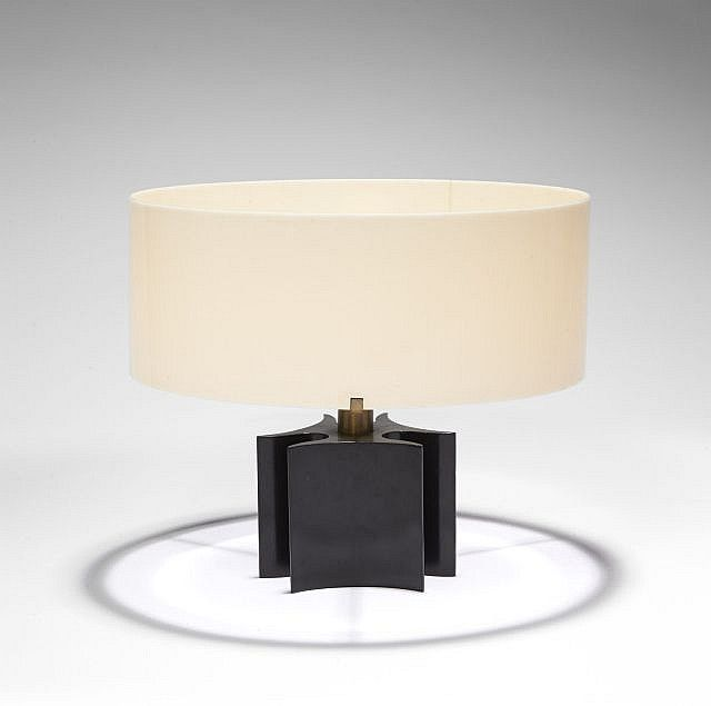 French art deco black lacquer table lamp w perspex shade by