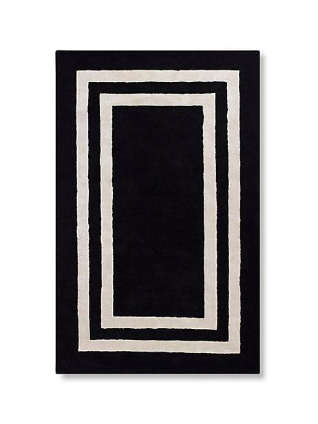 kate spade, double border rug (black).