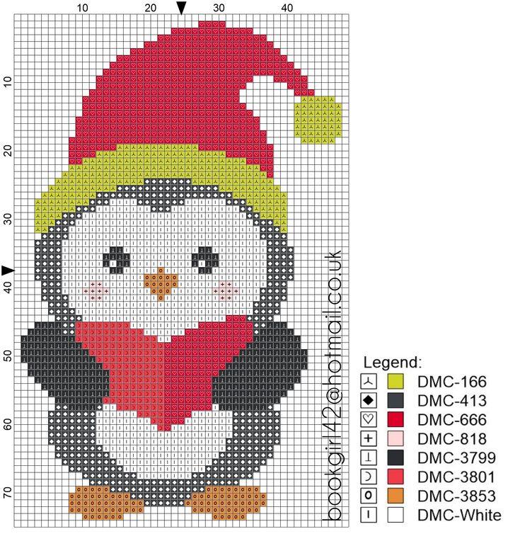 Winter Christmas Penguin Cross Stitch Pattern