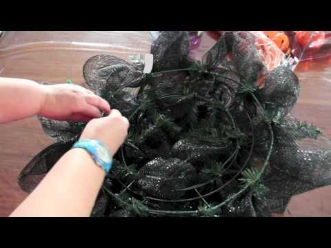 Simple instructional video on creating a Deco Mesh Halloween Wreath
