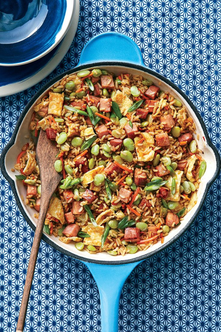 Ham and Lima Bean Fried Rice Recipe | This delicious Southern twist on fried rice is made with pantry and freezer staples, so you probably already have most of the ingredients on hand.