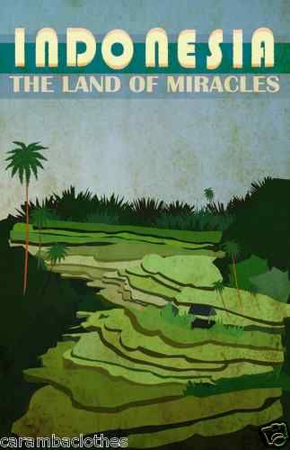 Vintage Travel Art Deco Poster Indonesia Land of Miracles Indonesian Bahasa | eBay