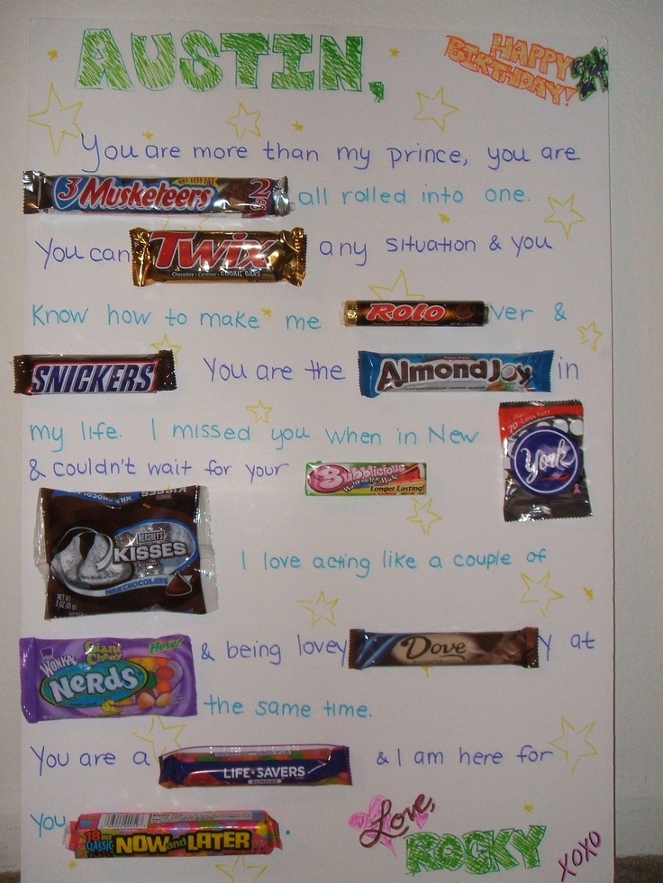 This Is A Giant Candy Card I Made For Austin S Birthday You Place Candy Bars To Creat Candy Bar Birthday Birthday Present For Boyfriend Birthday Card Sayings