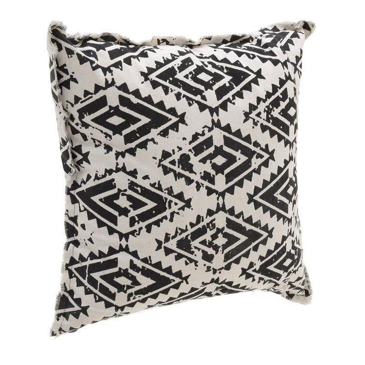Υφασμάτινο (Synthetic/POLYESTER) διακοσμητικό μαξιλάρι με γεωματρικά μοτίβα σε λευκό και μαύρο χρώμα