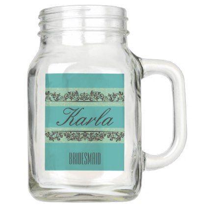 CUSTOMIZED BRIDESMAID 20 OZ MASON JAR - rustic style country natural diy customize personalize