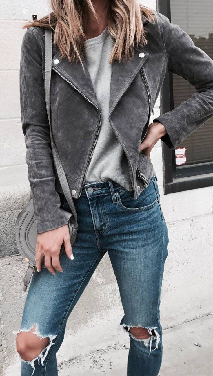 how to style a grey moto jacket top bag ripped jeans