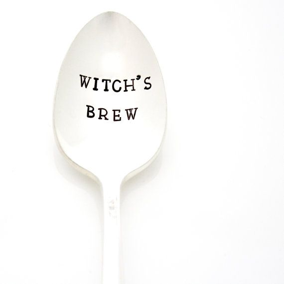 Witch's Brew hand stamped coffee spoon. Vintage flatware for a witchy woman. Halloween Decor.