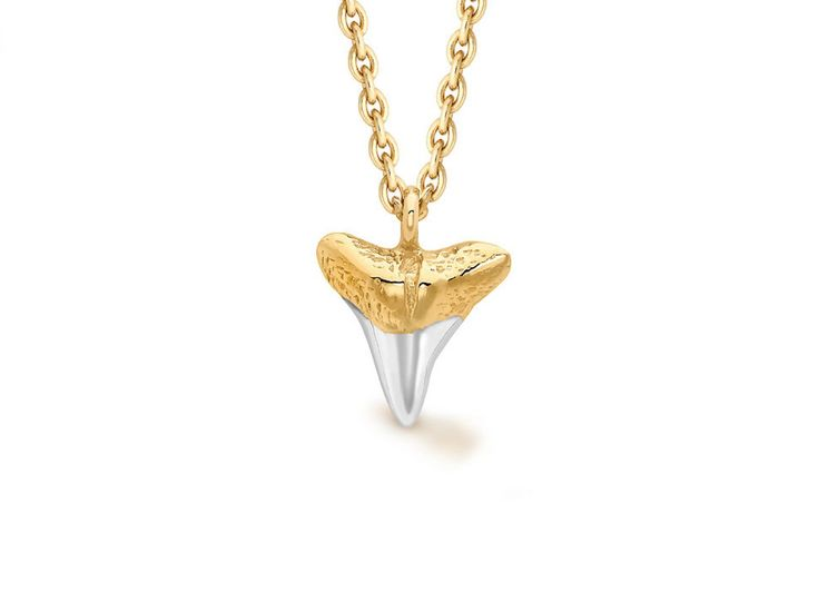 Missoma - Two tone 18ct gold vermeil and sterling silver shark tooth necklace