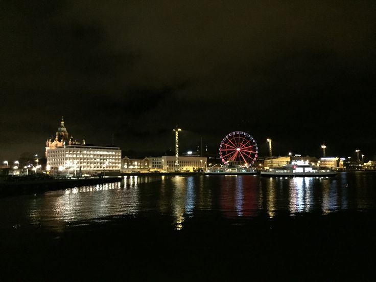 Helsinki by night, Uspenskij cathedral, Enso Gutzeit house, Ferris wheel and Sveaborg ferry arriving South harbour