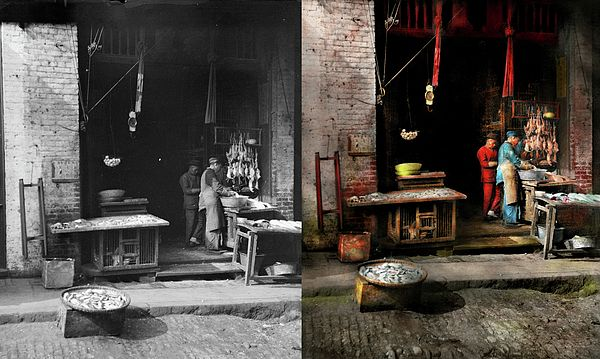 Colorized photo from 1886 Original title: Fish Alley Location: Chinatown, San Francisco  It was hard to know what year this was taken in, but it was before 1906, because that's when the earthquake hit and it leveled a good chunk of this area. So I gave it the lowest date range.  #savad #chinatown #colorized