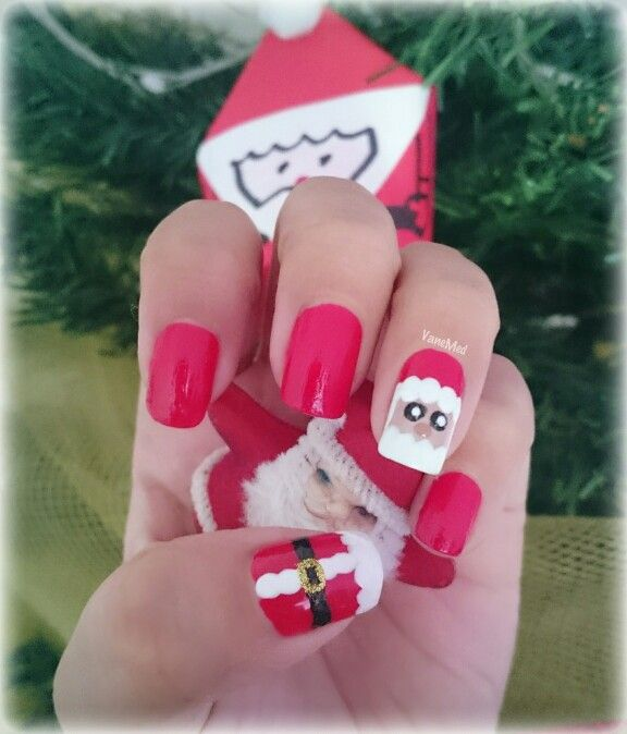 Mis uñitas #papá #noel tiernito  #nail #art #design #diy #navidad #santa #christmas #redcolor #polish #kawaii