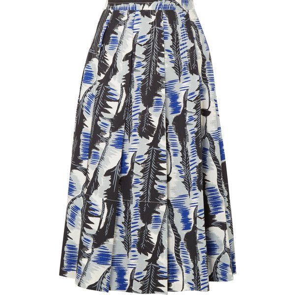 72cd7ce437 Marni Pleated printed cotton-poplin midi skirt found on Polyvore featuring  skirts, marni, blue print skirt, calf length skirts, marni skirt and  mid-calf ...