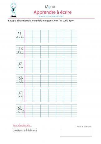 Modèle écriture cursives majuscules : M, N, O, P, Q, R