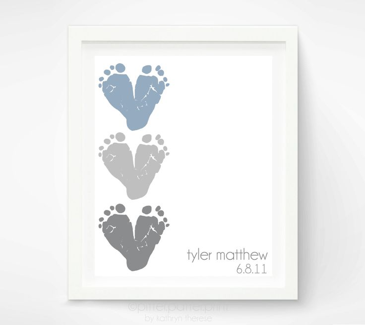 Baby Footprint Art - Personalized Baby Name Art - Gray Heart Red Heart - Nursery Decor Baby Wall Art - Gift for New Baby