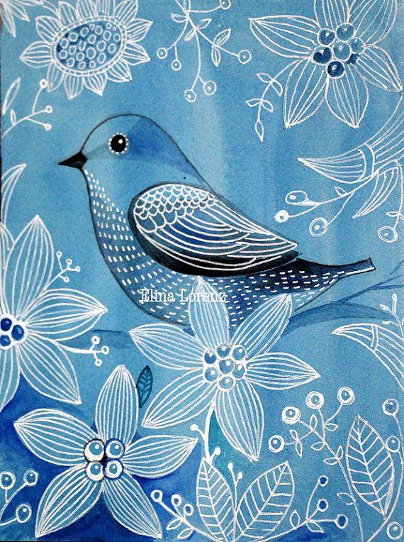 Blue Bird / Bird Art/ Art Print from Original  Painting/ Wall Art/ Nursery Decor / Room Decor/ Blue and White/ Modern