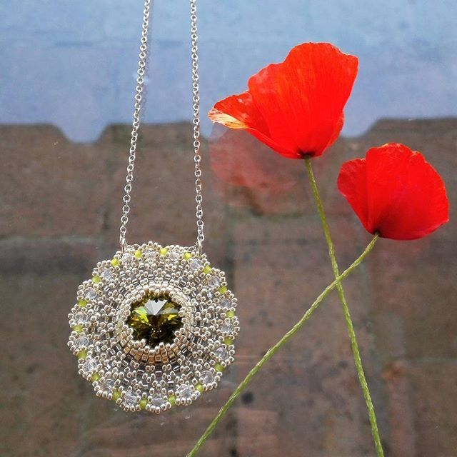 Poppy & Zabett Flower FLOWERS from FLORENCE Tuscany Jewelry you simply must have with crystal Swarovski Olivine. #firenze #florence #italia #italy #handmade #diy #toscana #tuscany #outfit #inspiration #fashion #must #musthave #jewelry #necklace #fasionista #design #art #zabettflowers #zabett #swarovski #poppy