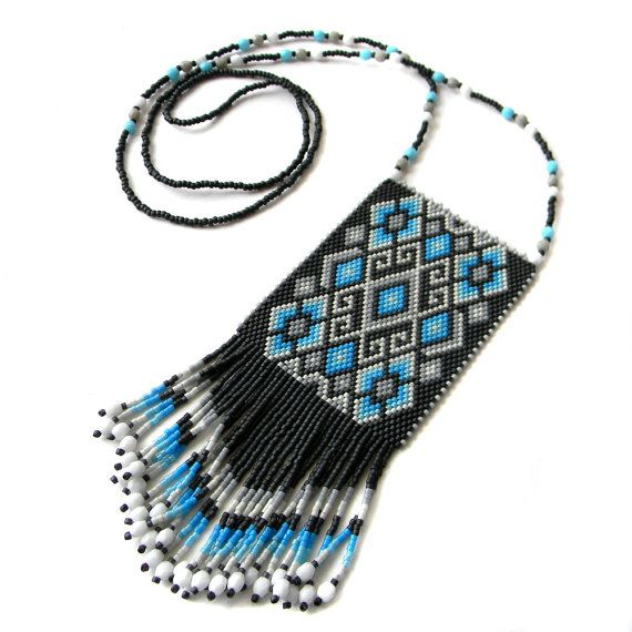 Peyote beaded necklace  seed bead jewelry  beaded by Anabel27shop,