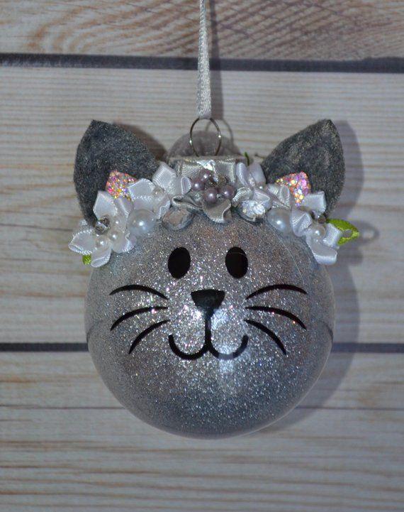 Personalisierte Weihnachtsschmuck, Katze Ornament, Kitty Ornament, Glitter, Wimpern, Stocking Stuffer, Babys erste Weihnachten, Haustier-Geschenk, niedlich