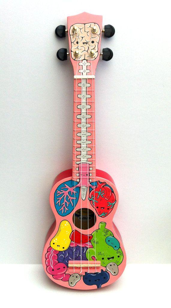 Anatomía personalizado pintado ukelele por cosmicginge en Etsy