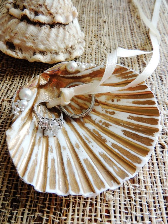 Sea Shell Ring Bearer Wedding Ring Holder Bowl by unconventionalJ