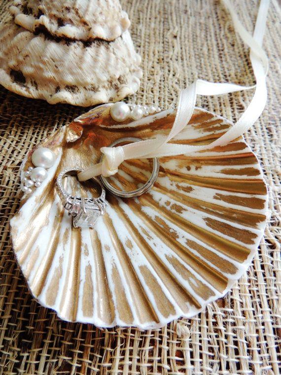 Sea Shell Ring Bearer Wedding Ring Holder Bowl by unconventionalJ