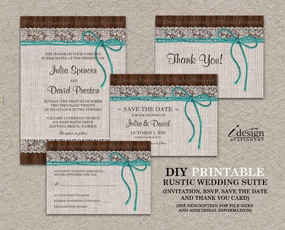 Wedding Invitation Rsvp Date: DIY Printable Rustic Turquoise Wedding Invitation Kit With